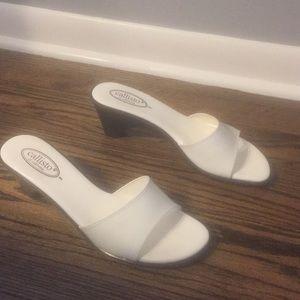 Callisto of California white slide sandals